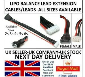 Lipo Battery Balance Lead Extension Cable JST-XH 20cm 2s 3s 4s 5s 6s li-po RC UK