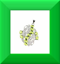 Newt Green Peridot & White CZ 925 Silver Pendant FREE SHIPPING # 248