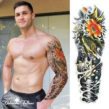Temporary Tattoo Sleeve - Gold Koi Carp Robot Arm Lotus Flowers 3D  Mens Womens