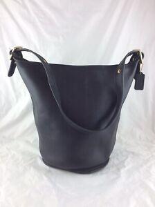 LADIES COACH CLASSIC BLACK LEATHER BUCKET SHOULDER BAG HANDBAG