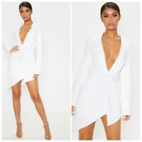 White Knot Detail Asymmetric Hem Shirt Dress UK-8 EU-36 US-4 AUS-8