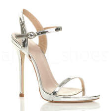 Womens Ladies Very High Heel Buckle Strappy Metallic Barely There Sandals Size Silver UK 5 / EU 38 / US 7