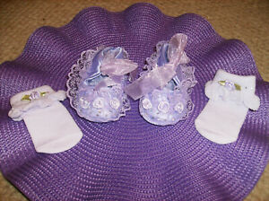4PC MATCHING PURPLE BABY SHOES & SOCKS WITH AUSTRALIAN CRYSTALS Nonslip 6 - 9 MO