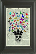 ORIGINAL-Skull and Butterflies Vintage Dictionary Art Print - Wall Hanging 306D