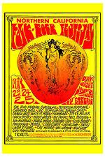 Jimi Hendrix & Led Zeppelin at Folk-Rock Festival Concert Poster Circa 1969