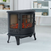 1800W Electric Fireplace Log Burner Heater Fire Flame Effect Stove Black Metal