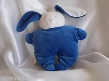 Doudou lapin bleu et blanc, semi-plat, Histoire d'ours