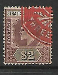Straits Settlements $2 Revenue Duty Stamp Sold as Per Scan