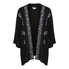 Anmol Short Black Embroidered Kimono Cover Up BNWT