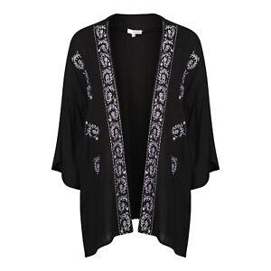 Anmol Short Black Embroidered Kimono Cover Up BNWT