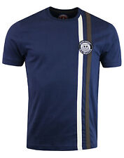 MENS WIGAN CASINO CLASSIC RETRO MOD TWIN STRIPE T-SHIRT  WC 2086 - NAVY BLUE