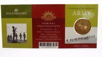 2001 Centenary of The Australian Army One Dollar C Mint Mark Coin