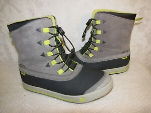 MERRELL SNOW BANK BOYS YOUTH GRAY & GREEN INSULATED WATERPROOF ANKLE BOOTS 5M