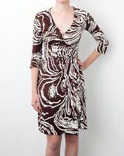 Diane von Furstenberg DVF Brown Cream Abstract Silk Wrap Dress Size UK4 US 0