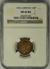 1936 Great Britain Farthing, 1/4 Penny, NGC MS 65 BN.