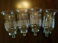 4 HOMCO 1198-BL PARK LANE Large Glass PEG Votive Cup Candle Holders w/Grommets