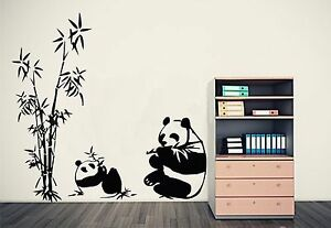 BAMBOO & GIANT PANDAS EATING Wall Art Sticker, Decal, Mural, in 3 x sizes