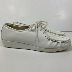 SAS Siesta Women's Size US 11 M White Leather Moc Toe Oxfords Comfort Shoes