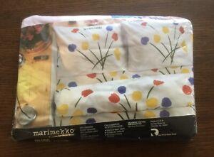 Vintage Marimekko Full Fitted Sheet Seven Flowers Tulips NEW NOS WOW!
