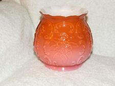 Vintage Fenton Rose Overlay Wild Rose Bow Knots Pink White Art Glass Vase Ruffle
