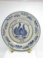 Primitive Vintage Stoneware Crock Baldwinsville Stoneware NY Salt Glazed Plate
