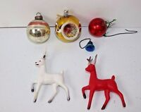 Vintage Christmas Ornaments & Reindeer  6 Misc. Pieces