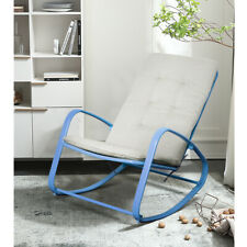 Indoor Rocking Chair Patio Padded Steel Rocker Seat Removable Cushion Blue