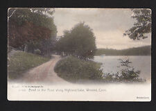 1905 hand colored Bend in Road along Highland Lake Winsted Connecticut postcard
