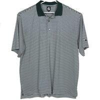 Footjoy Mens Golf Shirt Size 2XL Green White Striped Polo Embroidered Stretch FJ