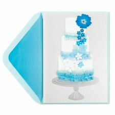 Papyrus Gorgeous Wedding Card   Blue Flower & Ribbon Wedding Cake -Retail $9.95