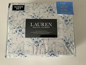 NIP LAUREN RALPH LAUREN Cotton White Blue Queen QUEEN Sheet Set Extra Deep