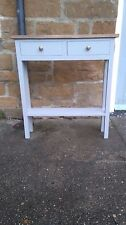 H80 W75 D20cm BESPOKE CONSOLE HALL BEDROOM TABLE FRENCH GREY REAL OAK TOP