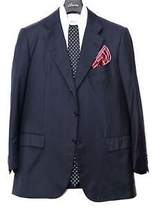 $7 250 Kiton blue black wool striped suit EU 54 US 44 7R