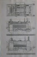 1877 Stampa Locomotiva Motore Lato Elevation Plan