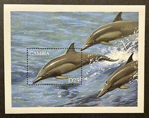 GAMBIA MARINE FAUNA STAMPS SOUVENIR SHEET 1999 MNH COMMON DOLPHIN SEALIFE OCEAN