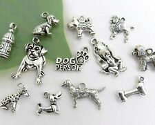12 DOG LOVER Charms, Antique Silver Mixed Animal Theme Charm Collection Set Lot