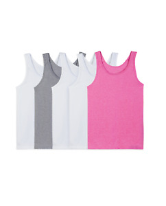 Fruit of the Loom Girls 5 Pack Assorted Layering Tank Undershirts 4-6 S, 8-10 M
