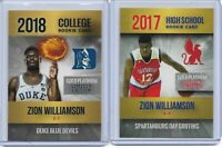 LOT OF 2 ZION WILLIAMSON 2017 & 2018 ROOKIE PHENOMS