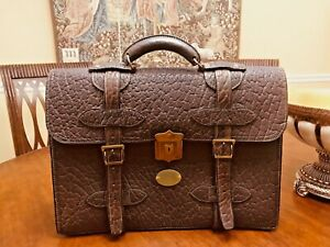 Vintage Double Belted  Brown Thick Walrus Leather Briefcase / Attache - US Made