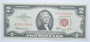 1963-A $2 Two Dollar US Red Seal Jefferson Note Bill US Currency Crisp UNC *0175