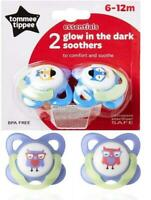 Tommee Tippee Essentials x 2 Dummy Pacifier Glow in the Dark Soother 6-12 M