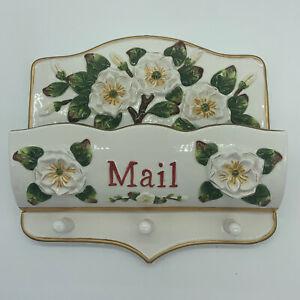 Ceramic Magnolia Flowers Wall Pocket Mail Holder Floral Cottage Garden Boho