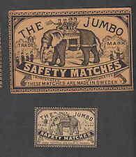 Ancienne   étiquette   allumettes  Suède  DS50  Eléphant