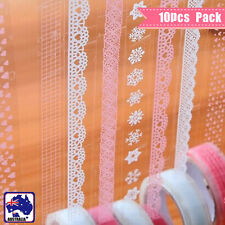 10 Rolls Lace Sticky Tape Sticker Trim Label Scrapbooking Paper DIY White Pink