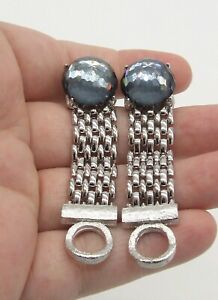 """5/8"""" Dante Faceted Blue Domed Crystal Cuff Links~Silver Tone Mesh Wrap Around"""