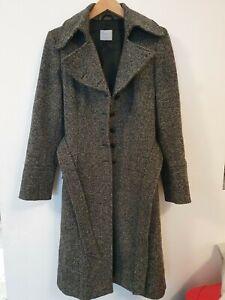 OASIS Wool Blend (65%) Long Belted Over Coat Size UK12