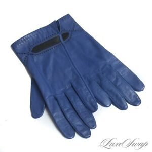 Anonymous Vintage Blueberry Blue Nappa Leather Black Inset Leather Winter Gloves