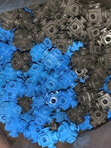 Fisher Price Construx 6-Peg Connector Nuts Lot of 200 Blue And Gray Parts