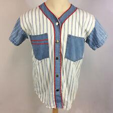 Rare Vintage 90s Grunge Switch Womens Denim Color Block Baseball Jersey Shirt L