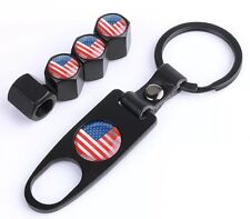 4 X American USA Stars Stripes Flag Valve Dust Caps Covers With Spanner Free Del